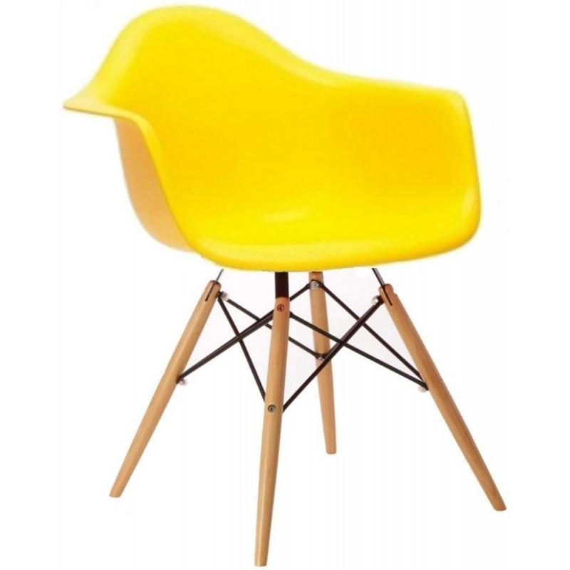 Cadeira DAR Fibra de vidro com pé madeira